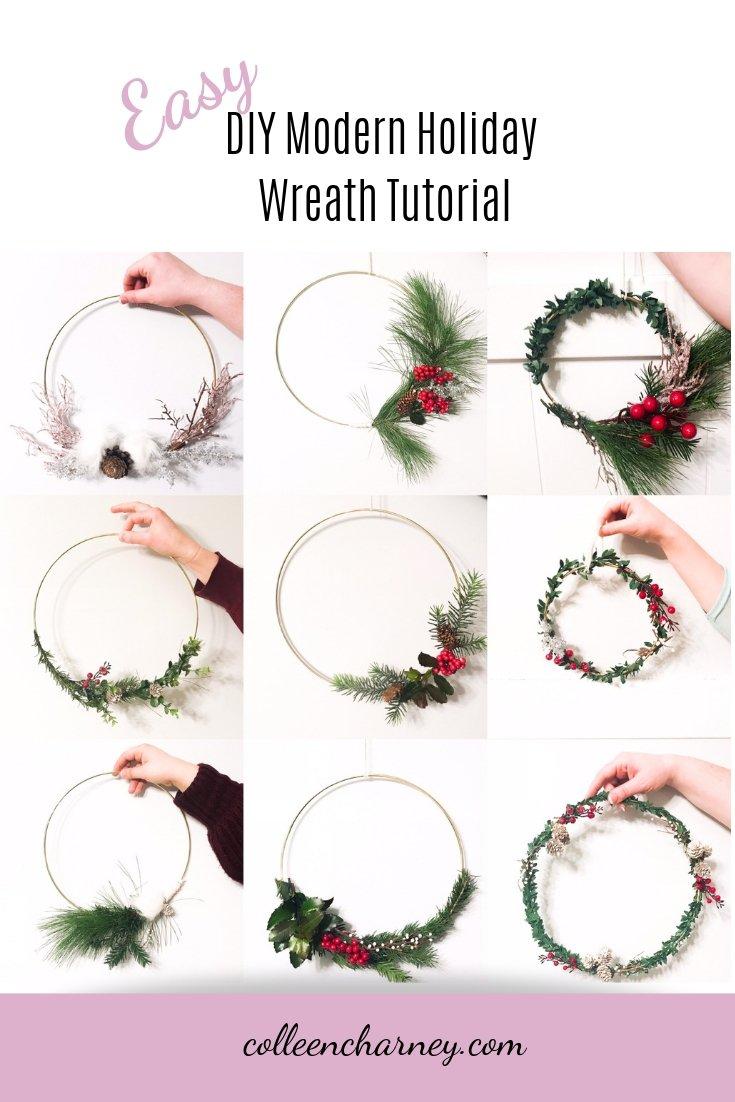 Easy DIY Modern Holiday Wreath