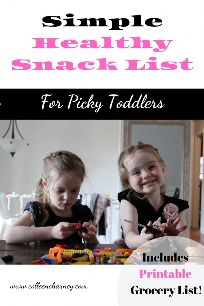 Frustrated over mealtime? Check out this list of healthy foods that even picky toddler will like. A complete list of cost-efficient snacks including a FREE Printable Grocery List.